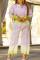 Yellow Fashion Casual Print Basic Turndown Collar Plus Size Two Pieces