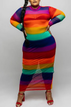 Rainbow Color Sexy Striped Print Split Joint O Neck One Step Skirt Plus Size Dresses