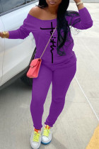 Purple Fashion Casual Print Basic Long Sleeve Two Pieces
