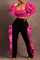 Rose Red Sexy Solid Split Joint Flounce Fold Square Collar Long Sleeve Two Pieces