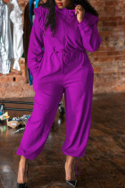 Purple Casual Solid Split Joint Draw String Zipper Collar Loose Jumpsuits