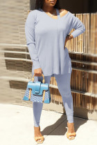 Water Blue Fashion Casual Solid Hollowed Out V Neck Long Sleeve Two Pieces