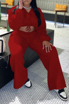 Red Fashion Casual Solid Split Joint V Neck Long Sleeve Two Pieces
