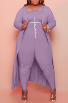 Purple Fashion Casual Print Cardigan Plus Size Two Pieces