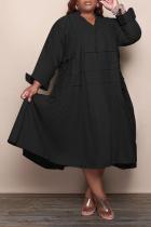 Black Casual Solid Flounce V Neck Cake Skirt Plus Size Dresses