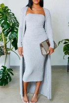 Grey Casual Solid Split Joint Strapless Long Sleeve Two Pieces