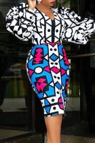 Black White Fashion Casual Print Split Joint V Neck Long Sleeve Dresses