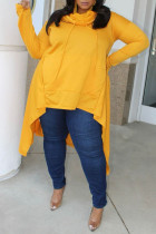 Yellow Fashion Casual Solid Split Joint O Neck Plus Size Tops