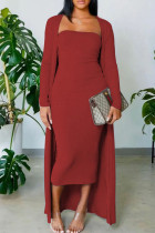 Burgundy Casual Solid Split Joint Strapless Long Sleeve Two Pieces