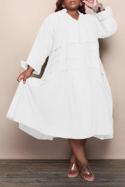 White Casual Solid Flounce V Neck Cake Skirt Plus Size Dresses