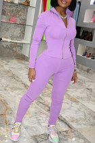 Purple Fashion Sexy Solid Split Joint Zipper Collar Long Sleeve Two Pieces
