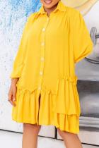 Yellow Casual Solid Flounce Turndown Collar Cake Skirt Dresses