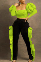 Fluorescent Green Sexy Solid Split Joint Flounce Fold Square Collar Long Sleeve Two Pieces