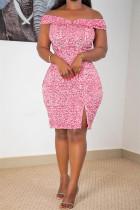 Pink Fashion Sexy Patchwork Sequins Slit Off the Shoulder Evening Dress