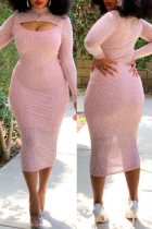 Pink Fashion Sexy Hot Drilling Hollowed Out Backless Turtleneck Long Sleeve Dresses