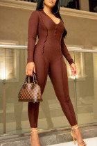 Coffee Fashion Sexy Solid Split Joint V Neck Jumpsuits