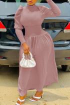 Pink Fashion Casual Solid Split Joint Turtleneck Waist Skirt Dresses