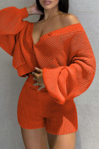 Orange Fashion Casual Solid Cardigan V Neck Long Sleeve Two Pieces