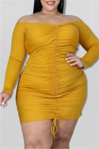 Gold Sexy Casual Print Backless Off the Shoulder Long Sleeve Plus Size Dresses