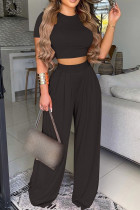 Black Fashion Casual Print Split Joint O Neck Short Sleeve Two Pieces