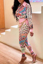 Pink Casual Print Split Joint Buckle Turndown Collar Long Sleeve Two Pieces(Without Belt)