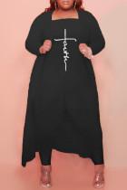 Black Fashion Casual Print Cardigan Plus Size Two Pieces