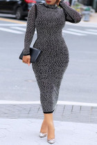 Black Fashion Sexy Hot Drilling Hollowed Out Backless Turtleneck Long Sleeve Dresses