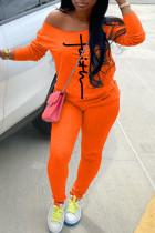 Orange Fashion Casual Print Basic Long Sleeve Two Pieces