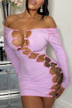 Purple Sexy Solid Hollowed Out Off the Shoulder Pencil Skirt Dresses