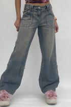 Blue Fashion Casual Basic High Waist Regular Denim Jeans