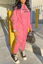 Pink Fashion Sportswear Print Split Joint Hooded Collar Long Sleeve Two Pieces