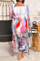 Colour Fashion Celebrities Print Split Joint Strapless Long Sleeve Two Pieces