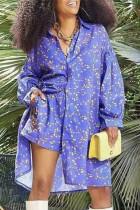 Blue Fashion Casual Print Basic Turndown Collar Long Sleeve Two Pieces