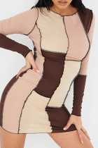 Brown Sexy Solid Split Joint O Neck Pencil Skirt Dresses