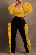 Yellow Sexy Solid Split Joint Flounce Fold Square Collar Long Sleeve Two Pieces
