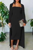Black Casual Solid Split Joint Strapless Long Sleeve Two Pieces