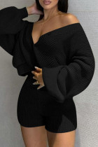 Black Fashion Casual Solid Cardigan V Neck Long Sleeve Two Pieces