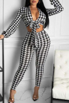 White Sexy Print Bandage Split Joint V Neck Long Sleeve Two Pieces