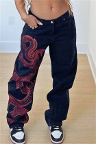Black Fashion Casual Print Basic High Waist Straight Jeans