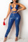 Blue Fashion Sexy Solid Hollowed Out Backless Halter Skinny Jumpsuits