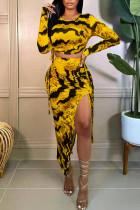 Yellow Sexy Print Split Joint Draw String High Opening Asymmetrical O Neck Long Sleeve Two Pieces