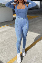 Blue Sexy Casual Solid Backless Halter Skinny Jumpsuits