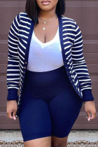 Deep Blue Fashion Casual Striped Split Joint V Neck Long Sleeve Two Pieces