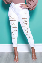 White Fashion Street Solid Ripped High Waist Denim Jeans