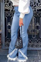 Baby Blue Street Solid Tassel Split Joint High Waist Boot Cut Denim Jeans
