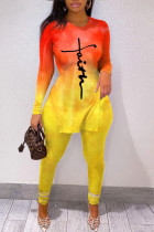 Yellow Casual Gradual Change Print Split Joint Slit O Neck Long Sleeve Two Pieces