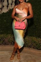 Colour Fashion Sexy Print Backless V Neck Sling Dress