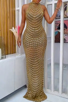 Gold Sexy Patchwork Hot Drilling See-through Backless Half A Turtleneck Evening Dress
