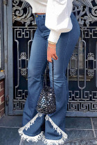 Blue Street Solid Tassel Split Joint High Waist Boot Cut Denim Jeans
