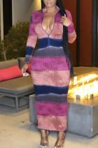 Multicolor Casual Striped Print Split Joint Zipper Collar One Step Skirt Dresses